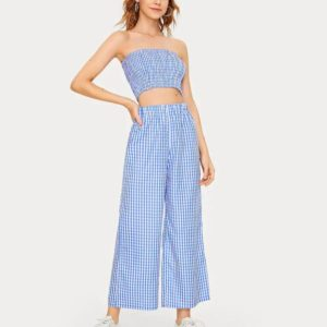 Blue Plaid Pull Rubber Band Wide Leg Trouser Suit (Color:Blue Size:M)