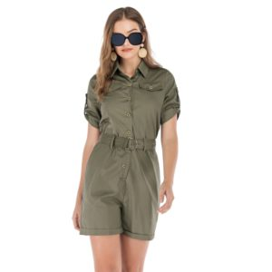 Belted Tooling Jumpsuit (Color:Army Green Size:L)