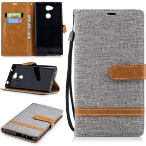 Color Matching Denim Texture Leather Case for Sony Xperia L2, with Holder & Card Slots & Wallet & Lanyard(Gray)