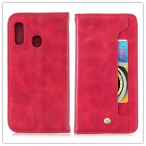 For Galaxy M20 Copper Buckle Nappa Texture Horizontal Flip Leather Case , with Holder & Card Slots & Wallet(Red)