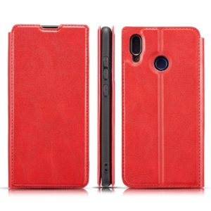 For Galaxy A10s Retro Simple Ultra-thin Magnetic Leather Case with Holder & Card Slots & Lanyard(Red)