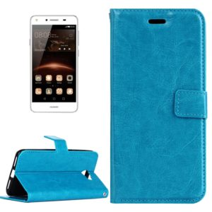 For Huawei Y5 II Crazy Horse Texture Horizontal Flip Leather Case with Magnetic Buckle & Holder & Card Slots & Wallet & Photo Frame(Blue)