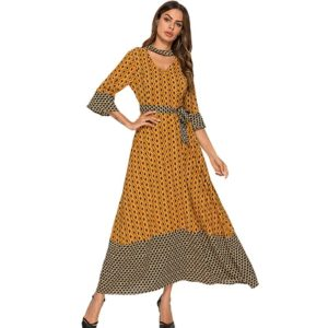 Printed Paneled Flared Sleeve Dress (Color:Yellow Size:XXL)