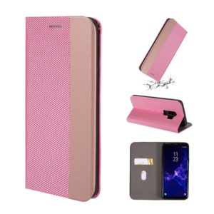 For Galaxy S9+ Ultrathin Shell Magnetic Horizontal Flip Leather Case with Holder & Card Slots(Pink)