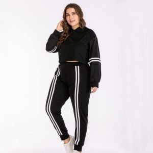 Women Plus Size Hooded Sweatshirt High Waist Trousers Vertical Stripe Two-Piece Set (Color:Black Size:XXXXL)