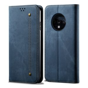 For OnePlus 7T Denim Texture Casual Style Horizontal Flip Leather Case with Holder & Card Slots & Wallet(Blue)