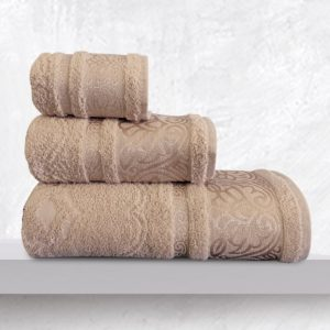 Πετσέτες Σετ Bath Towels Cronos Beige Jacquard Cotton Sb Concept 3Τεμ