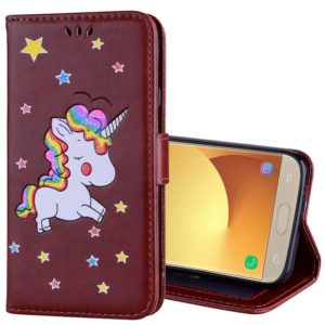 For Galaxy J3 (2017) / J330 ( EU Version) Glitter Powder Unicorn Pattern Horizontal Flip Leather Case with Holder & Wallet & Card Slots & Photo Frame (Brown)