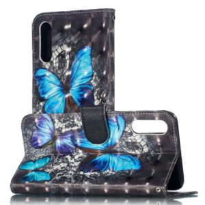3D Pattern Colored Drawing Horizontal Flip Leather Case for Huawei Y6 Pro (2019) , with Holder & Card Slots & Wallet & Lanyard(Blue Diamond Butterfly)
