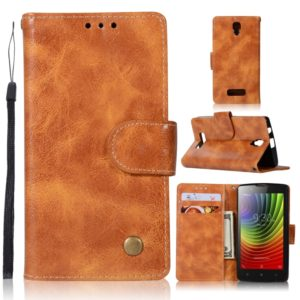 For Lenovo A2010 Retro Copper Button Crazy Horse Horizontal Flip PU Leather Case with Holder & Card Slots & Wallet & Lanyard(Gold Yellow)