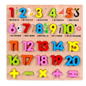 Baby Kids Wooden Puzzles Toys Educational Jigsaw Board Puzzle Toys Cognitive Plate(1-20 Arabic Numerals)