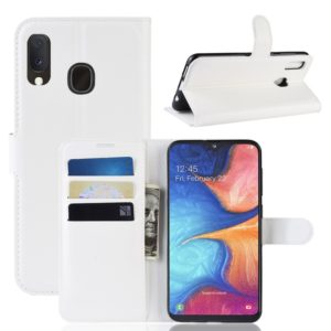 Litchi Texture Horizontal Flip Leather Case for Galaxy A20e, with Wallet & Holder & Card Slots (White)