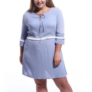 Lace Three-quarter Sleeve Tassel Elastic Waist Large Size Dress (Color:Blue Size:XXL)