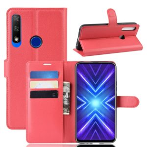 For Huawei Honor 9X Fingerprint Version Litchi Texture Horizontal Flip Leather Case with Wallet & Holder & Card Slots(Red)