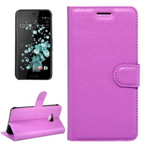 For HTC U Play Litchi Texture Horizontal Flip Leather Case with Magnetic Buckle & Holder & Card Slots & Wallet (Purple)
