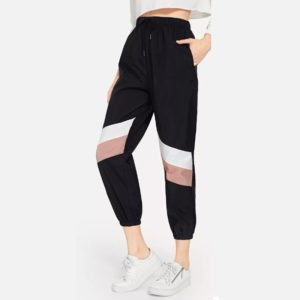 Women Stitching Casual Pants (Color:Black Pink Size:S)