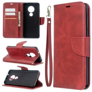 For Nokia 6.2 / 7.2 Lambskin Texture Pure Color Horizontal Flip PU Leather Case with Holder & Card Slots & Wallet & Lanyard(Red)