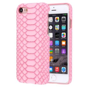 For iPhone 8 & 7 Snakeskin Texture Paste Skin PC Protective Case(Pink)