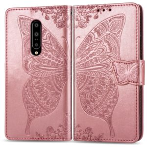 Butterfly Love Flowers Embossing Horizontal Flip Leather Case for OnePlus 7 Pro, with Holder & Card Slots & Wallet & Lanyard(Rose gold)
