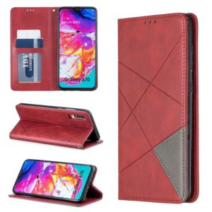 Rhombus Texture Horizontal Flip Magnetic Leather Case with Holder & Card Slots For Galaxy A70(Red)