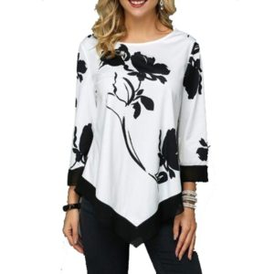 Loose Irregular Long-sleeved Top T-shirt (Color:White Size:XXL)