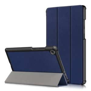 For Lenovo Tab M8 Custer Texture Horizontal Flip Smart TPU Leather Case with Three-folding Holder(Dark Blue)