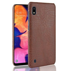 Shockproof Crocodile Texture PC + PU Case for Galaxy A10 (Brown)