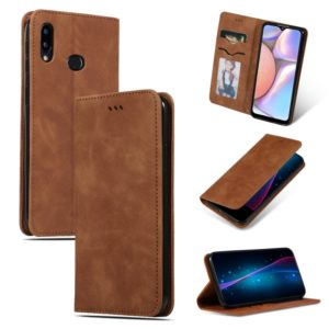 For Galaxy A10S Retro Skin Feel Business Magnetic Horizontal Flip Leather Case(Brown)