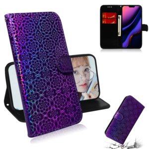 For iPhone 11 Solid Color Colorful Magnetic Buckle Horizontal Flip PU Leather Case with Holder & Card Slots & Wallet & Lanyard(Purple)