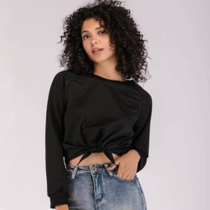 New Round Neck Long Sleeve Solid Color Short Bow T-shirt (Color:Black Size:S)