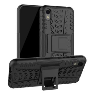 Shockproof PC + TPU Tire Pattern Case for Huawei Honor 8s, with Holder (Black)
