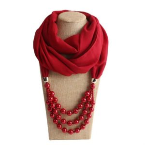 2 PCS National Style Scarf with Imitation Pearl Necklace(Wine red)