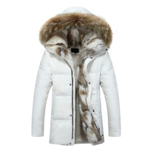 Men and Women Leisure Down Jacket Winter Thick Warm lovers Fur Collar, Size:L(White)