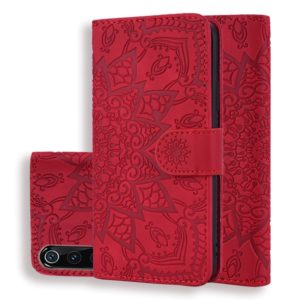 Calf Pattern Double Folding Design Embossed Leather Case with Wallet & Holder & Card Slots for Xiaomi Mi 9(Red)