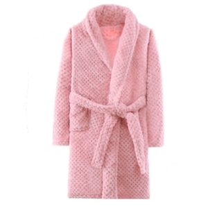 Winter Flannel Bathrobe Parent Child Bathrobes Home Clothes, Height:120cm(Pink)