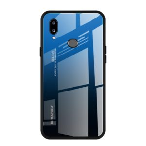 For Galaxy A10s Gradient Color Glass Case(Blue)
