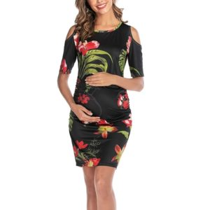Color Matching Maternity Dress (Color:Black Size:S)