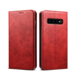 Suteni Calf Texture Horizontal Flip Leather Case for Galaxy S10, with Holder & Card Slots & Wallet (Red)