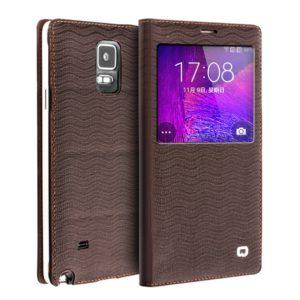 QIALINO Θήκη δέρμα Galaxy Note 4 Genuine Leather QIALINO water wave Smart View Battery Housing for Samsung Galaxy Note 4- Brown