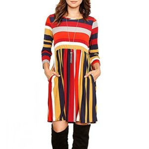 Round Neck Striped Stitching Color Long-sleeved Casual Head A Style Dress, Size: M(Orange Stripe)