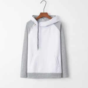 Stitched Hooded Zipper Long Sleeve Sweatshirt (Color:White Size:XXL)