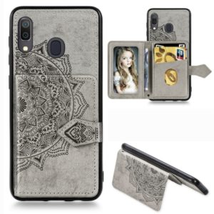 For Galaxy A30 Mandala Mandala Embossed Magnetic Cloth PU + TPU + PC Case with Holder & Card Slots & Wallet & Photo Frame & Strap(Gray)