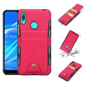 For Huawei Y7 (2019) Cloth Texture + TPU Shockproof Protective Case with Vertical Flip Card Slots(Rose Red)