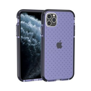 For iPhone 11 Pro Max Grid Pattern Shockproof Transparent TPU Protective Case(Blue)