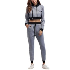 Hooded Short Sweater + Color Matching Trousers Casual Two-piece Suit, Size:L(Gray)