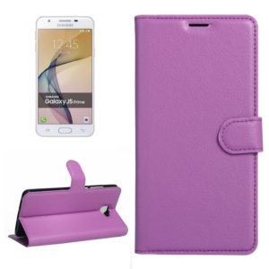 For Galaxy J5 Prime Litchi Texture Horizontal Flip PU Leather Case with Holder & Card Slots & Wallet(Purple)