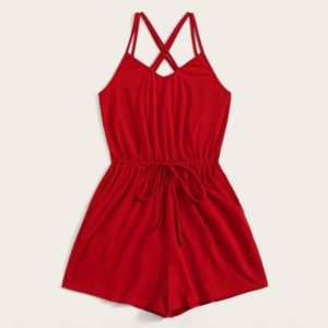 Women Neck Sexy Jumpsuit (Color:Red Size:L)