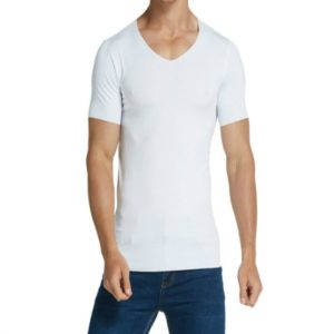 Men Ice Silk Quick Dry T-shirt Short Sleeve V Neck Solid Color Seamless Breathable Top, Size:XXL(White)