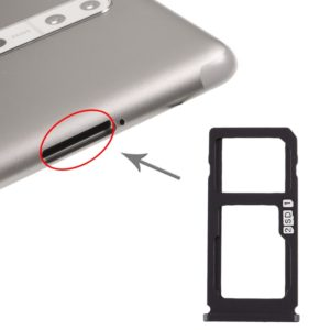 SIM Card Tray + SIM Card Tray / Micro SD Card Tray for Nokia 8 / N8 TA-1012 TA-1004 TA-1052 (Black)
