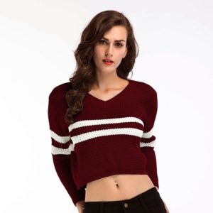 V-neck Striped Colorblock Short-sleeved T-shirt Sweater(Color:Red Size:One Size)